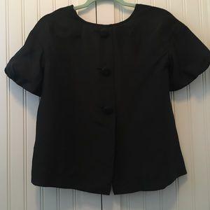 JCREW Black button silk top size 0